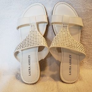 a8b27177aa9a21 White sandles with jewel details. Super comfy!